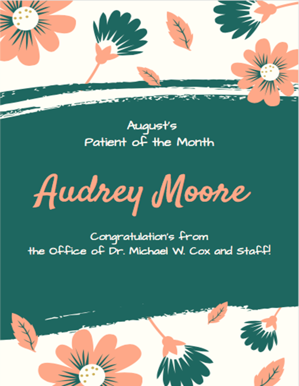 Cox Orthodontics August Patient of the Month 2017